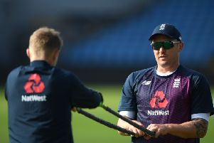 Jason Roy, right, stretching with captain Joe Root, passed a concussion test. Picture: Stu Forster/Getty
