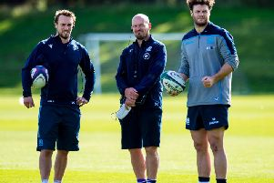 Scotland skills coach Mike Blair, left, with head coach Gregor Townsend, centre, and player Duncan Taylor. Picture: SNS