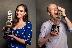 Jessica Brough (left) and Jordan Brookes with their awards. Picture: Dave's Edinburgh Comedy Awards