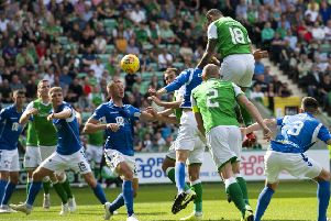 Adam Jackson scores for Hibs in the draw with St Johnstone. Pic: SNS