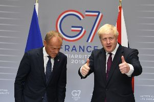 Johnson meets with President of the European Council, Donald Tusk at the G7 summit in Biarritz. Picture: Getty