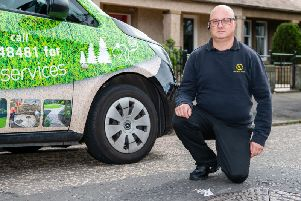 Derek Scott, 48, was driving down Lanark Road around 10pm on August 7 when he avoided several traffic cones in the middle of the road only to drive straight over an open manhole.