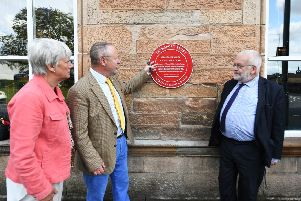 Carolyn Swift, Transport Trust trustee Jerry Swift, and John Yellowlees, as an honorary Rail Ambassador, attend the unveiling of a Red Wheels plaque at historic Canal Station in Paisley, Renfrewshire. Picture: John Devlin