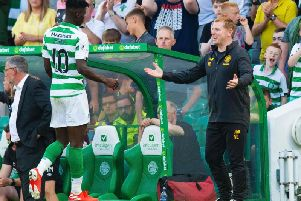 Vakoun Bayo is congratulated by Neil Lennon. Picture: SNS