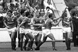 Ian Durrant, far right, salutes the Rangers fans after scoring the only goal of the game against Celtic at Ibrox on 31 August 1986. Picture: Gareth R Reid