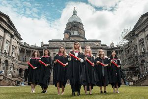 In July, these seven modern-day students from the University of Edinburgh accepted posthumous honorary degrees on behalf of the Edinburgh Seven, the first women to be admitted to study medicine in Britain, 150 years ago. Picture: Callum Bennetts/Maverick