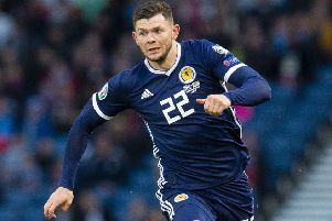 Oli Burke in action for Scotland against Cyprus at Hampden. Picture: Ross MacDonald/SNS