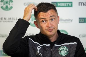 Hibs manager Paul Heckingbottom at an East Mains press conference. Picture: Ross MacDonald/SNS