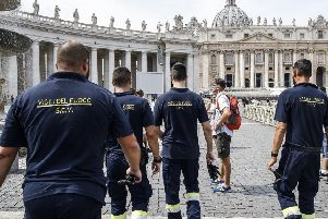 Pope Francis says he was stuck for 25 minutes in a Vatican elevator and had to be rescued by firefighters. Picture: Fabio Frustaci/ANSA via AP
