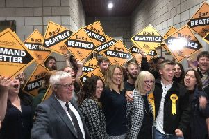 The Scottish Lib Dems celebrate after Beatrice Wishart wins the Shetland by-election