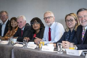 Labour leader Jeremy Corbyn with members of his shadow cabinet yesterday. Picture: Danny Lawson/PA Wire