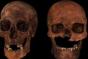 A 3D visualisation of two of the 15th Century skulls. One (right) shows a fatal sword wound that removed a portion of the man's face and a blade cut above his left eye which was inflicted around the time of death. PIC:  Visualising Heritage, University of Bradford.