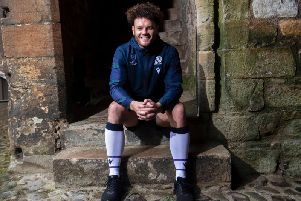 Duncan Taylor is all smiles as the Scotland Rugby World Cup squad is unveiled at Linlithgow Palace
