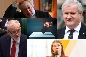 From top left clockwise: Boris Johnson (Conservative leader), Ian Blackford (SNP Westminster leader), Jo Swinson (UK Liberal Democrat leader) and Jeremy Corbyn (Labour leader). Picture: PA