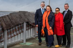 Culture Secretary Fiona Hyslop unveiled the artwork, Bridge of Pages, by the local artist Gordon Muir and featuring a poem by the Makar, Jackie Kay, on the Forth Road Bridge west footpath.