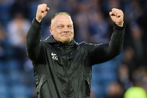 Connah's Quay's Scottish manager Andy Morrison celebrates at full-time after his side knocked Kilmarnock out of the Europa League. Picture: Ross Macdonald/SNS
