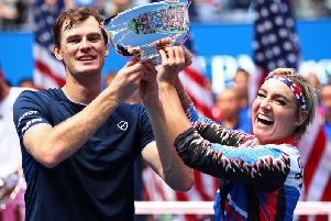 Jamie Murray and Bethanie Mattek-Sands left the trophy after their mixed doubles triumph at the US Open. Picture: Clive Brunskill/Getty Images