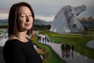 Artist Lesley Banks has naturally featured the iconic Kelpies in her work, as well as the Wheel.