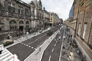 An artist's impression showing George IV Bridge remodelled as part of the city centre transformation plans