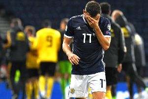 Another long evening for Scotland as they lost 4-0 to Belgium. Picture: SNS