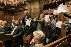 Opposition MPs protest as parliament is officially prorogued for five weeks