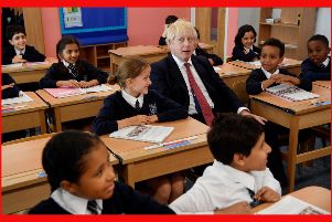 Prime Minister Boris Johnson during a visit to Pimlico Primary school in South West London, to meet staff and students and launch an education drive which could see up to 30 new free schools established. PA Photo.