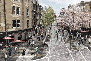 Cyclists and pedestrians mingle happily with no vehicles in sight in the transformation report's illustrations