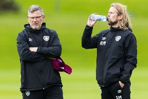 Hearts manager Craig Levein, left, and assistant Austin MacPhee oversee training. Picture; Roddy Scott/SNS