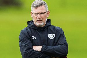 Craig Levein supervises training ahead of the game against Motherwell. Picture: Roddy Scott/SNS