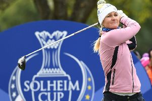 Europe's Anna Nordqvist tees off at the 11th in the second-day foursomes at Gleneagles. Picture: AFP