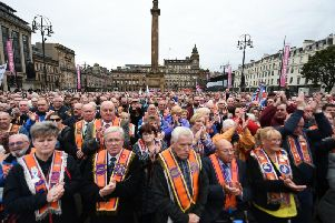More than one thousand gathered to protest against the Council's decision to ban marches. Picture: John Devlin
