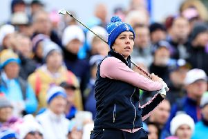 Georgia Hall won a vital fourballs point with partner Celine Boutier at the Solheim Cup. Picture: David Cannon/Getty Images