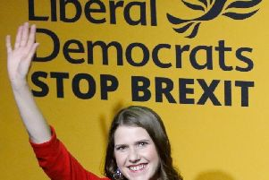 Liberal Democrat leader Jo Swinson waves on stage at an event annoucing the result of the leadership contest in central London on July 22, 2019. Picture: Getty Images