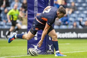 Matt Scott scores his second try for Edinburgh, but his his side were thwarted by a late touchdown by Ospreys on Saturday. Picture: SNS/SRU.