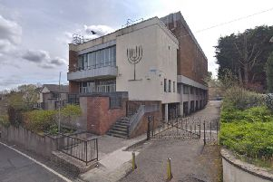 The incident allegedly took place outside Griffnock and Newlands Synagogue in East Renfrewshire. Picture: Google