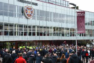 Hundreds of Hearts fans protest outside Tynecastle after their team's 3-2 defeat by Motherwell. Picture: Ross MacDonald/SNS