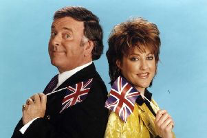 Katrina, of Katrina and The Waves, seen with the late Terry Wogan, were the last British Eurovision entry to win (Picture: BBC)