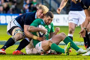 The chances of Ireland full-back Rob Kearney, right, facing the Scots on Sunday continues to improve. Picture: SNS