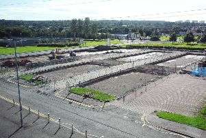 Work is well under way on an electric vehicle charging hub outside The Falkirk Stadium which will be one of many such facilities available to EV drivers throughout the region. Picture: Michael Gillen