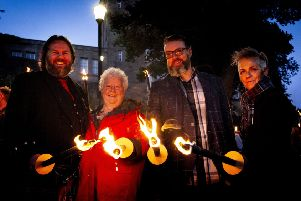 (L-R) Authors Craig Sisterson, Val McDermid, Liam McIlvanney and Denise Mina lead the torchlight procession to The Albert Halls at Bloody Scotland, Scotland's International Crime Writing Festival in Stirling on 21 September 2018 PIC:'''Paul Reich
