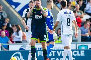 George Oakley is sent off against St Mirren