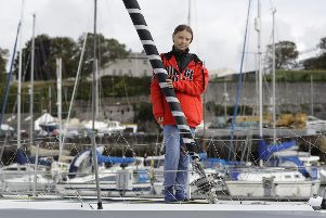Young climate change campaigner Greta Thunberg practised what she preaches by journeying from the UK to the United States by yacht to avoid harmful emissions. Picture: AP