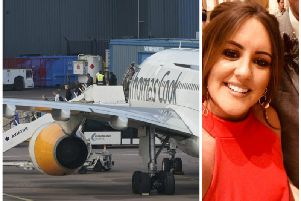 Ashleigh MacLennan was on board one of the last ever Thomas Cook flights. Picture: Getty Images (left) Contributed (right)