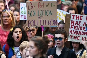 Young people in Glasgow taking part in this month's global climate strike. Picture: John Devlin