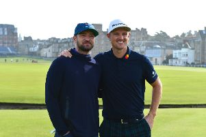Justin Rose and Justin Timberlake team up at the Alfred Dunhill Links Championship in St Andrews. Picture: Mark Runnacles/Getty Images