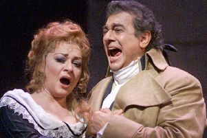 Tenor Placido Domingo, right, and soprano Daniela Dessi performing Umberto Giordano's Andrea Chenier during a rehearsal for the Metropolitan Opera's Millennium Gala at New York's Lincoln Center. Picture: AP Photo/Richard Drew