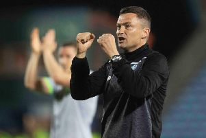 Hibs manager Paul Heckingbottom savours the win. Picture: Craig Foy/SNS