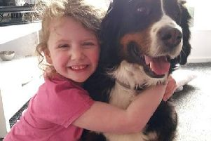 Laia Jenkins had been struggling with her balance, walking into doors and walking on tiptoes, but her parents thought her behaviour might be psychological, after she was devastated by the death of her two pet rabbits. Picture: SWNS