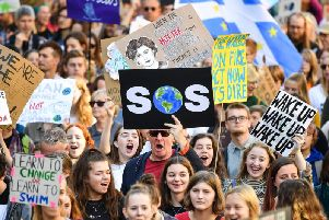 Protesters at the school pupil strike demanding government action on climate change.