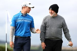 Scotland's Calum Hill with partner John Tyson during day two of the Alfred Dunhill Links Championship at the Old Course. Picture: Matthew Lewis/Getty Images